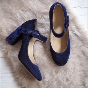 Navy Blue Velvet Chunky Heel Mary Jane Pump